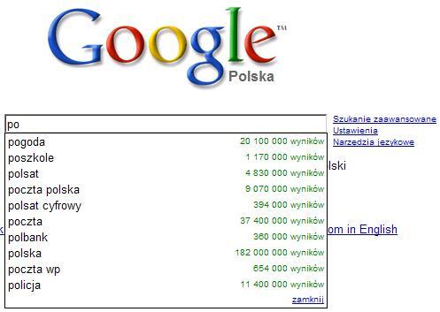 google podpowiada frazy