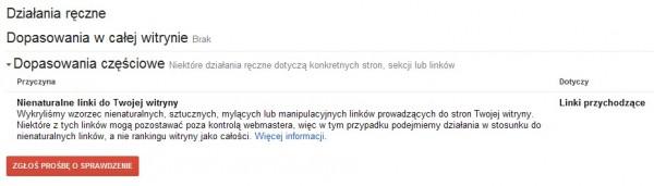 informacja o działaniach ręcznych od Google