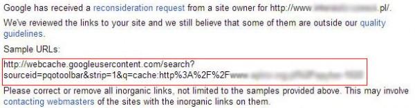 przykład nienaturalnego linka z kopii google